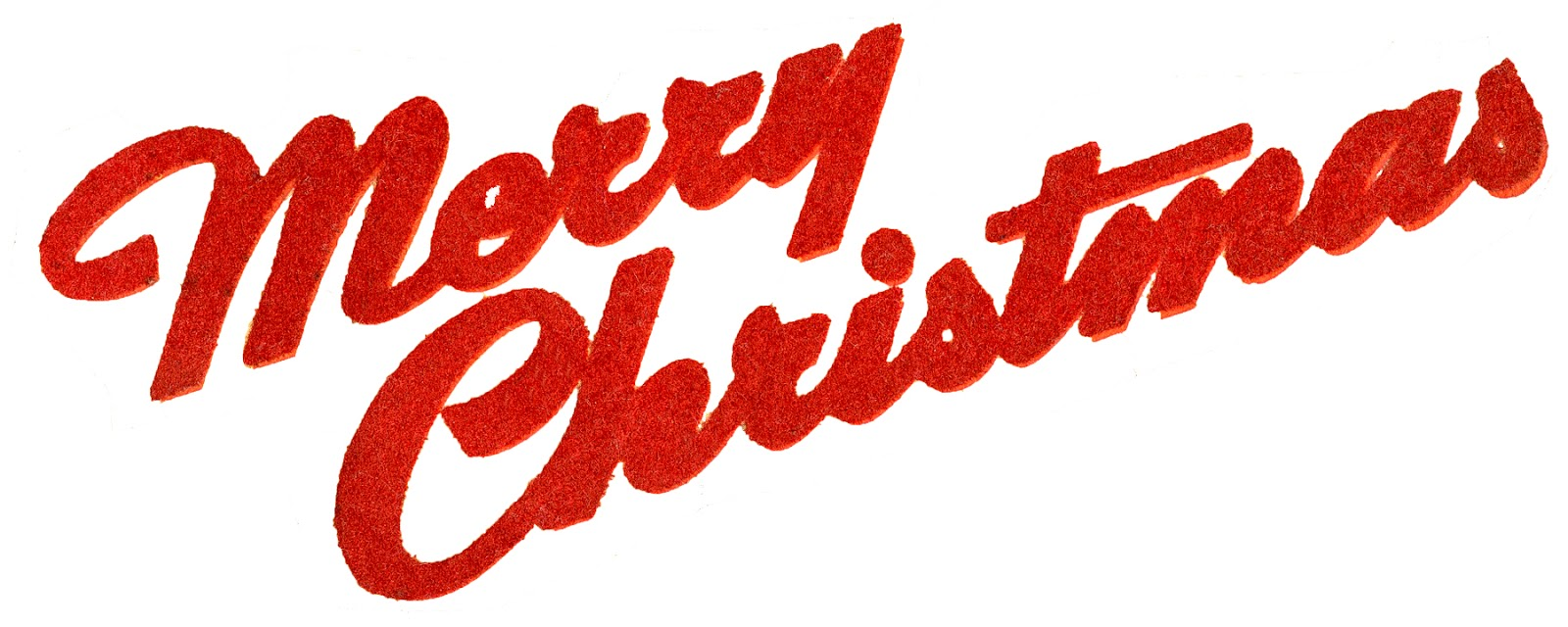 Retro Typography - Flocked Merry Christmas - The Graphics Fairy