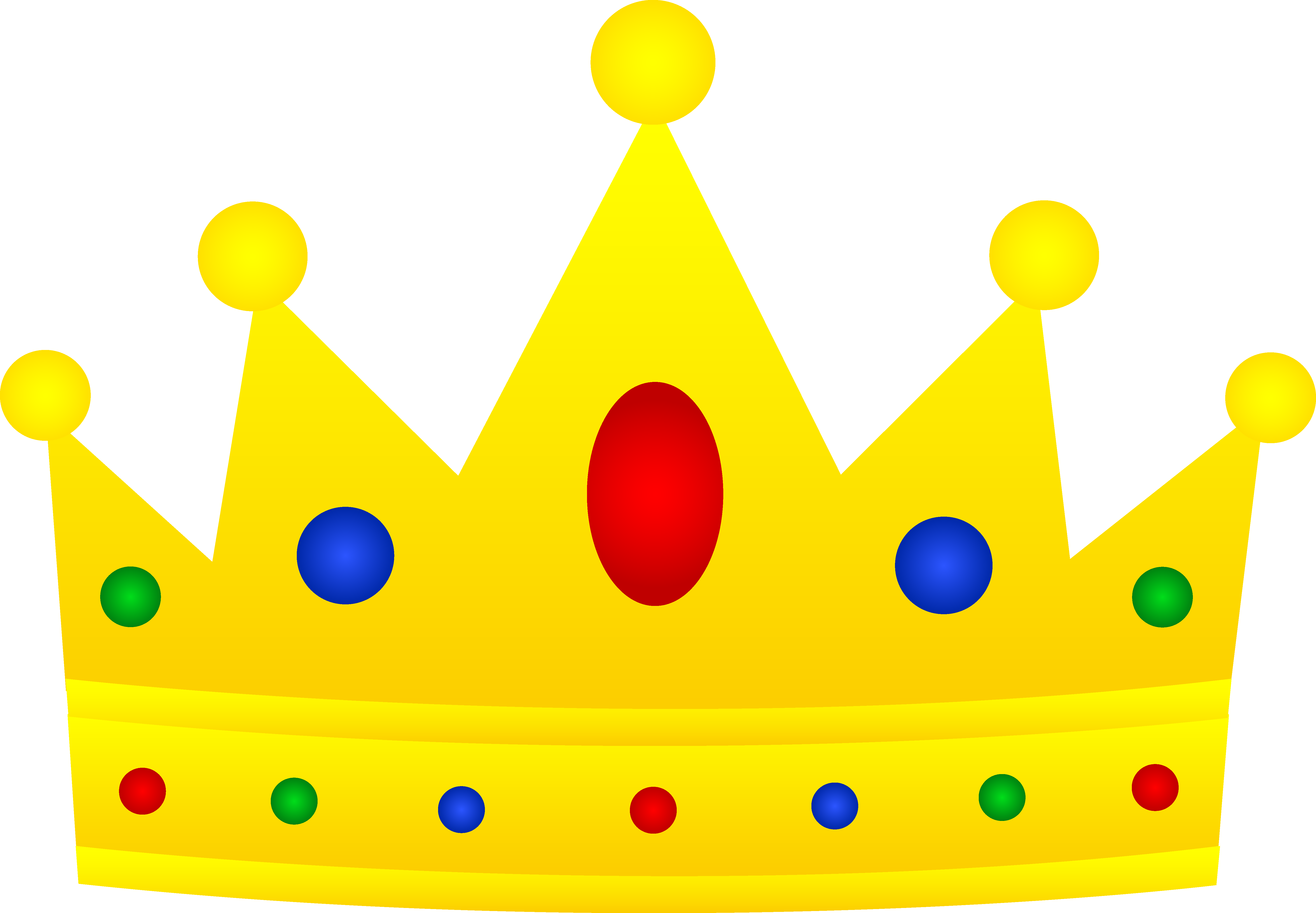 Golden Royal Crown With Jewels - Free Clip Art