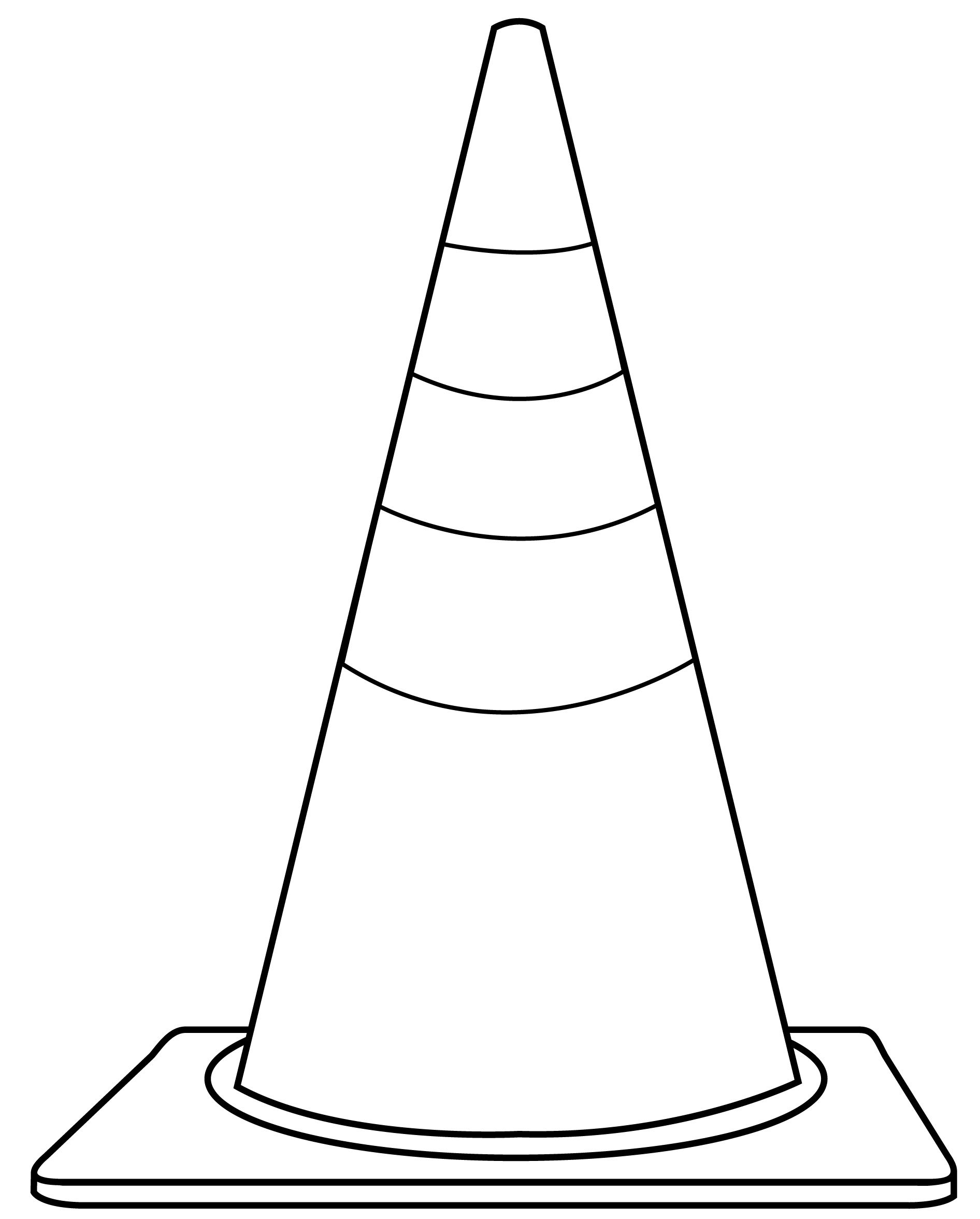 construction signs coloring pages - cone clip art