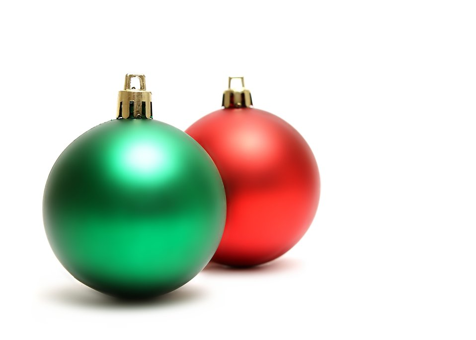 Free Stock Photos | Green and red Christmas ornaments isolated on ...