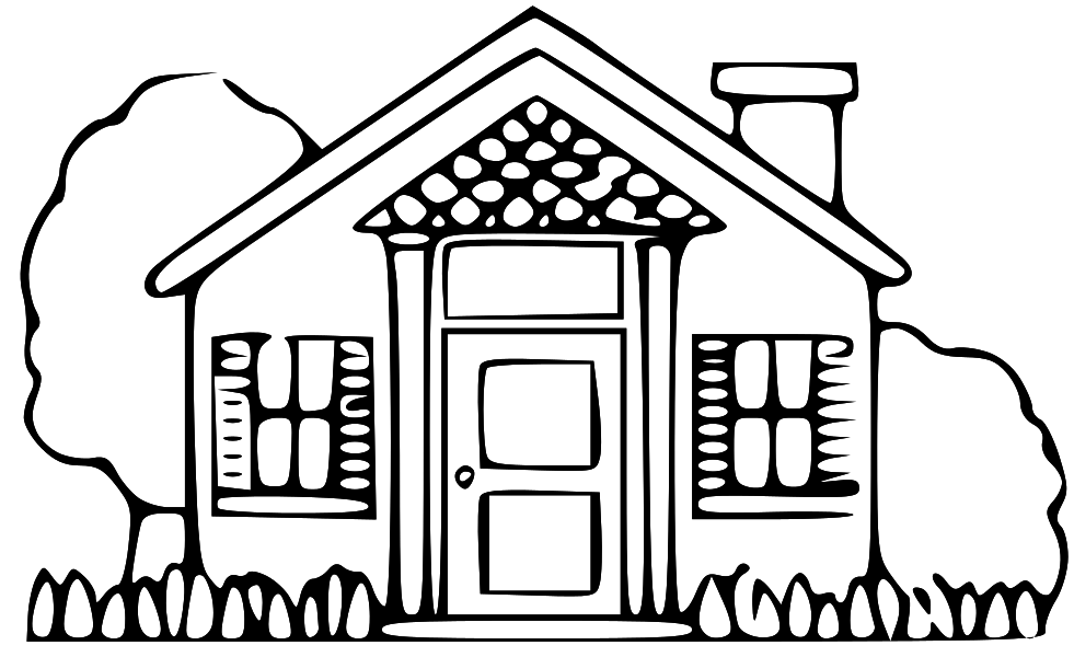 Line Drawing Of Your House : House line art cliparts