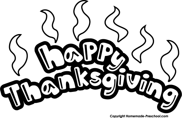 Happy Thanksgiving Clip Art Black and White | Free Internet Pictures