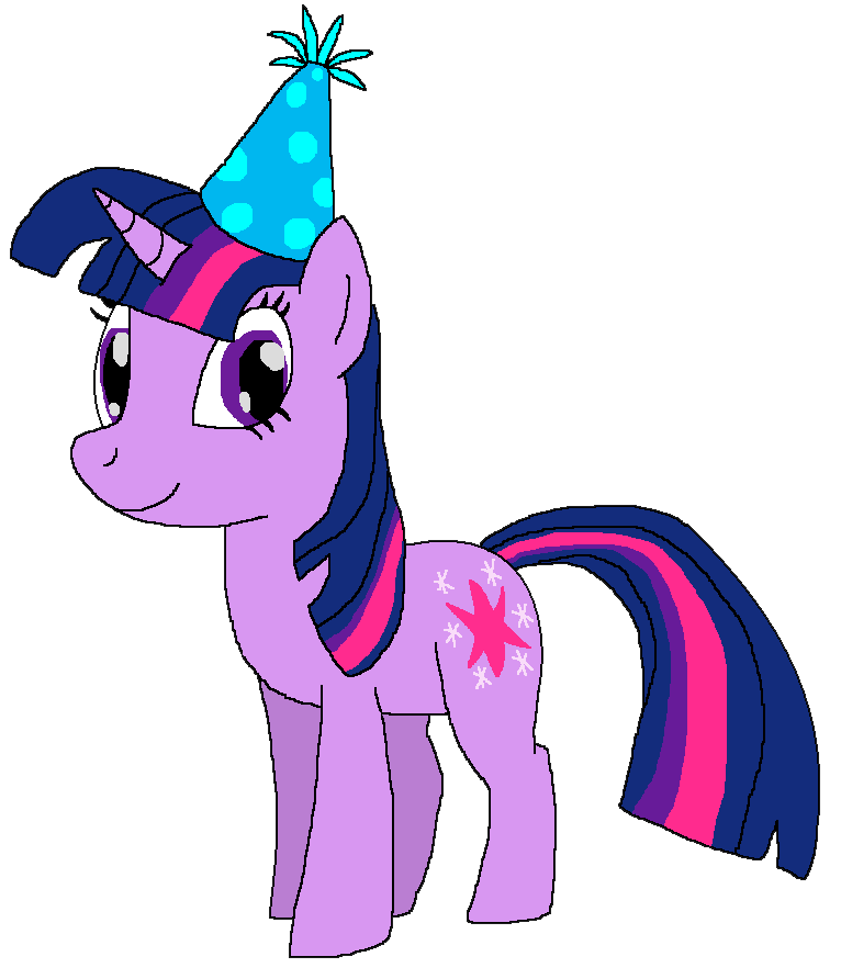 Twilight Sparkle with a Birthday Hat by kylgrv on deviantART