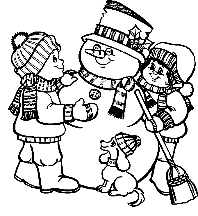Pictures Little Kids With A Cute Mr Snowman Coloring Pages ...