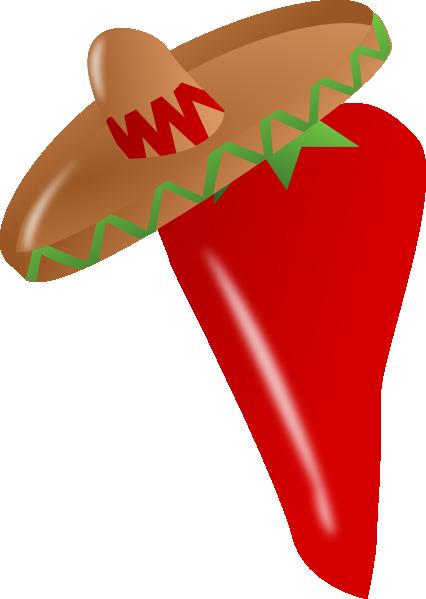Red Chili Pepper Wearing A Sombrero clip art - vector clip art ...
