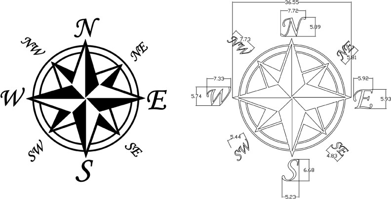 Adaptable image throughout picture of a compass rose printable