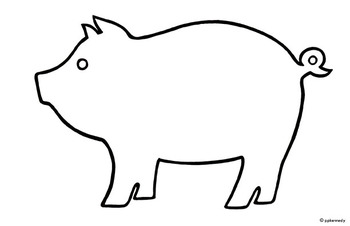 Outline of a pig for Pig puppet template