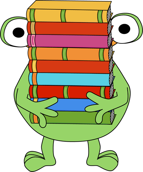 Monster Carrying a Stack of Books Clip Art - Monster Carrying a ...