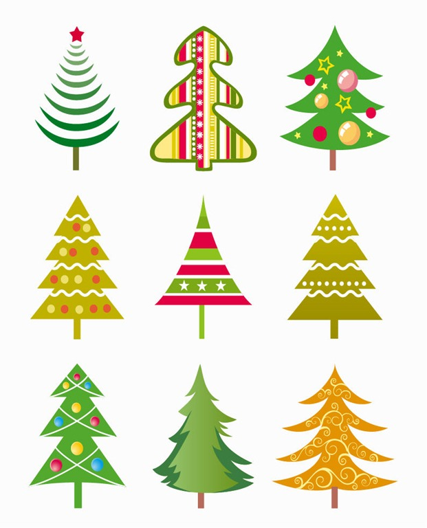 Christmas Tree Vector Illustration Set | Free Vector Graphics ...