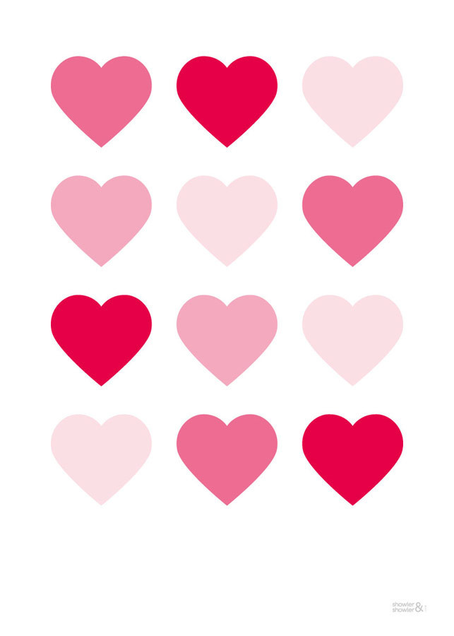 Hearts Art Print in Pink | Love Hearts Wall Art | Pink Hearts ...