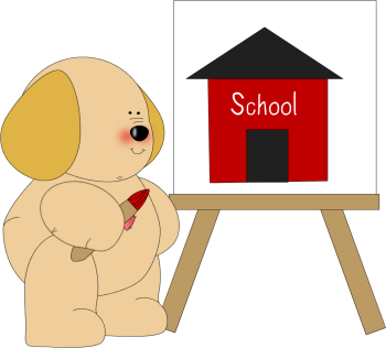 Dog Painting a School House Clip Art - Dog Painting a School House ...