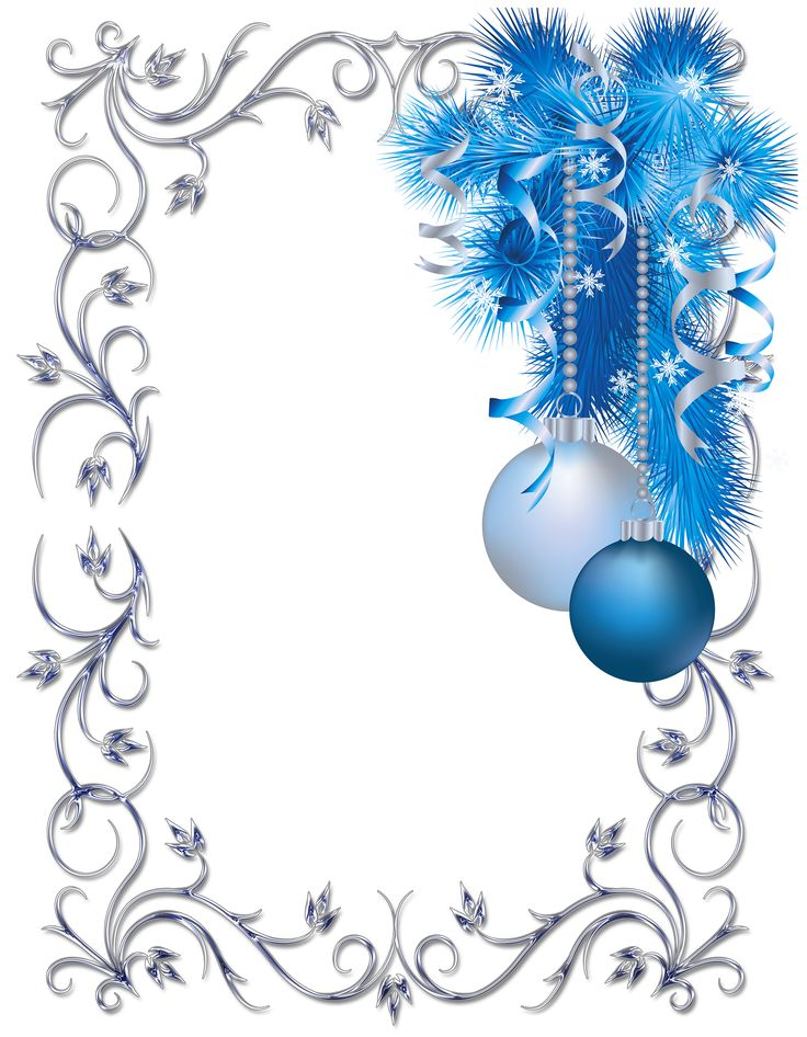 Silver and blue ornament Christmas frame | Clip Art Holiday Scrapbook…