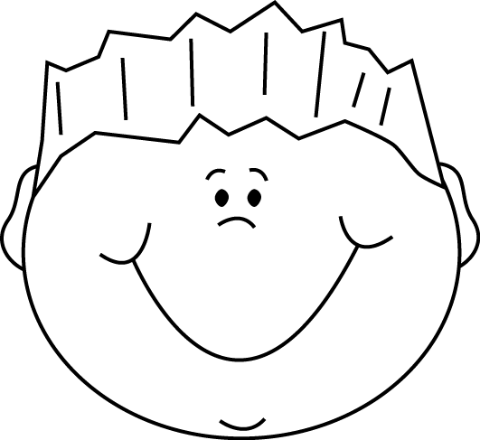 Black and White Cartoon Happy Boy Clip Art - Black and White ...