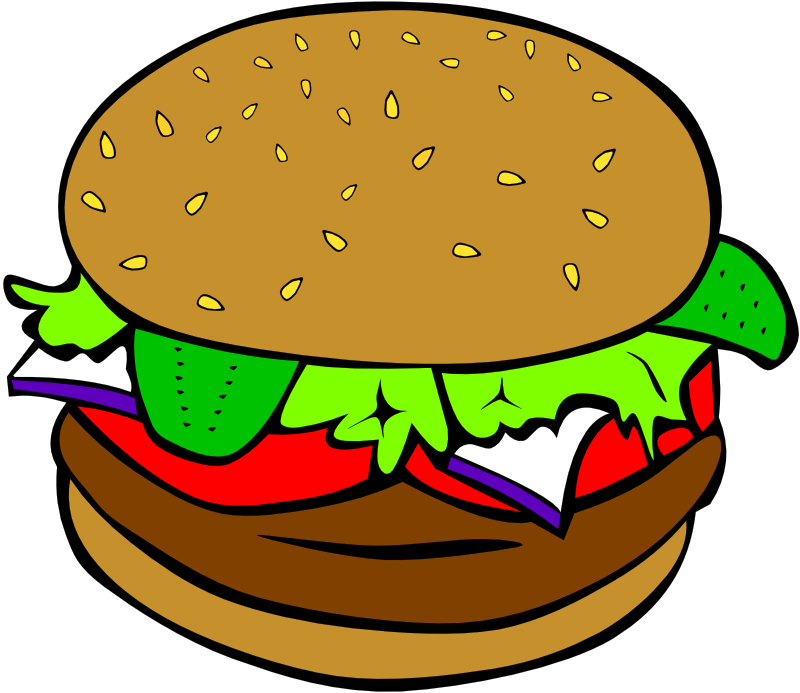 Clipart - Fast Food, Lunch-Dinner, Hamburger no cheese