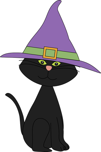 Black Cat Wearing Witches Hat Clip Art - Black Cat Wearing Witches ...