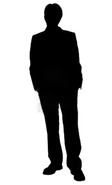 Business Man Standing Silhouette In Black And White image - vector ...