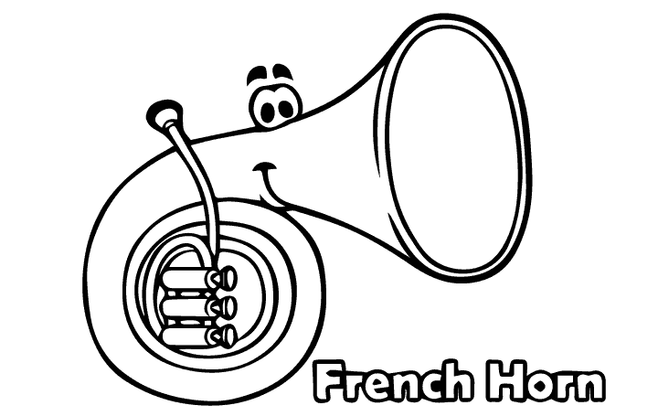 french horn coloring pages - photo#14