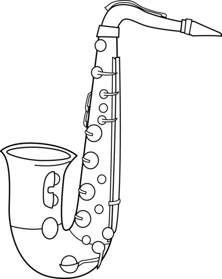 Black and White Saxophone Design - Free Clip Art