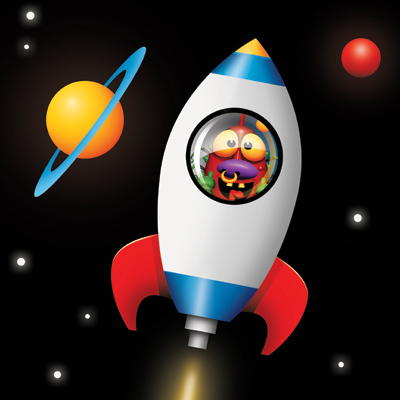 Animated rocket ship