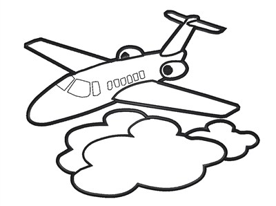 Simple Jet Coloring Page