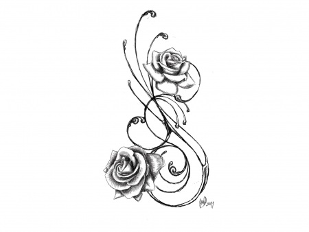 Black White Flower Tattoos - Cliparts.co