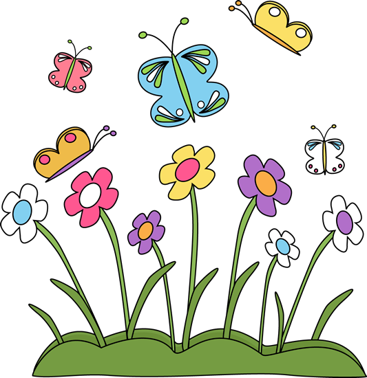 Spring Flowers and Butterflies Clip Art - Spring Flowers and ...