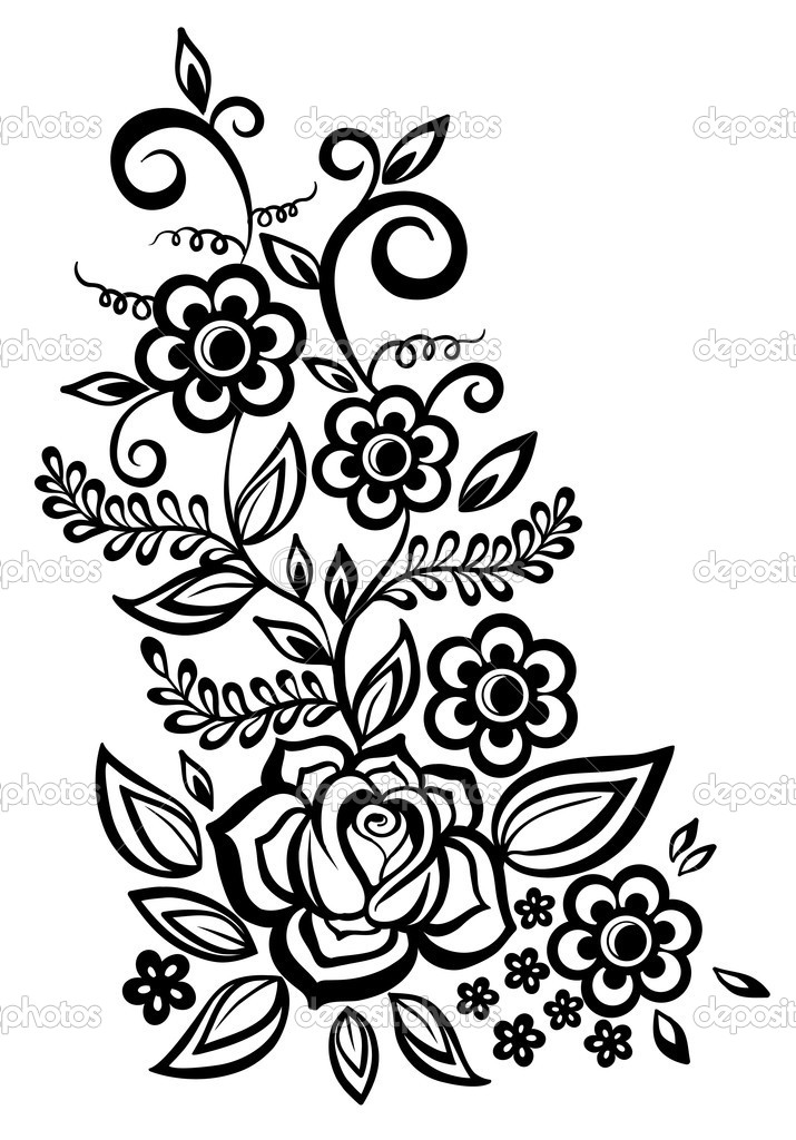 Black And White Flower Designs - Cliparts.co