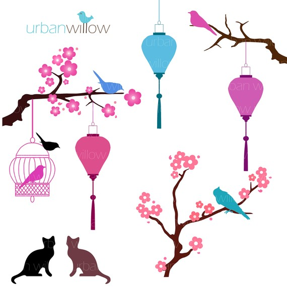 CHERRY BLOSSOMS Clip art for commercial and by urbanwillow