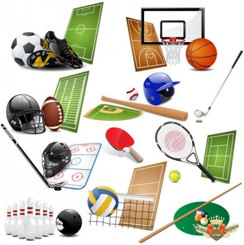 Free vector sports clip art with football, golf, rugby, soccer ...