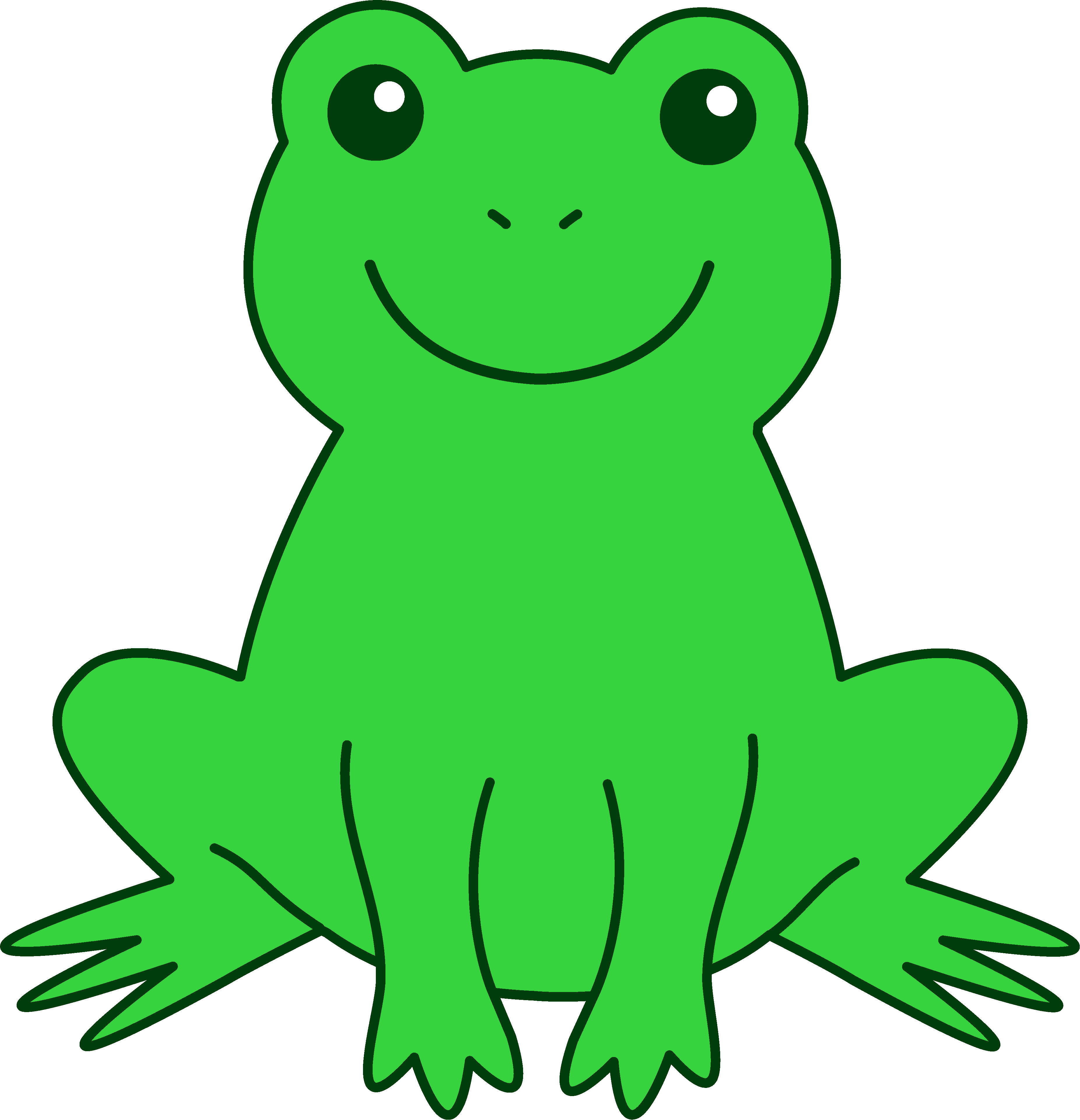 Happy Green Frog - Free Clip Art