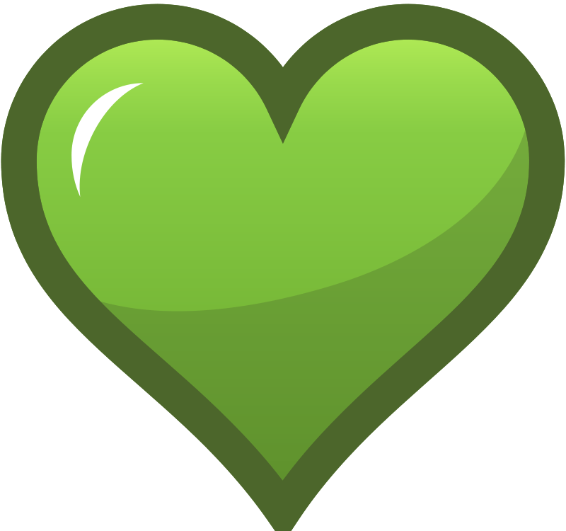 Green Heart Icon Free Vector / 4Vector