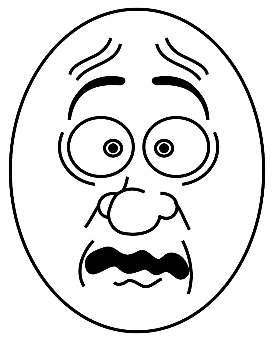 Scared Cartoon Faces Colouring Pages - Cliparts.co