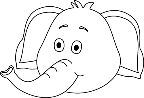 Black and White Elephant Face Clip Art - Black and White Elephant ...