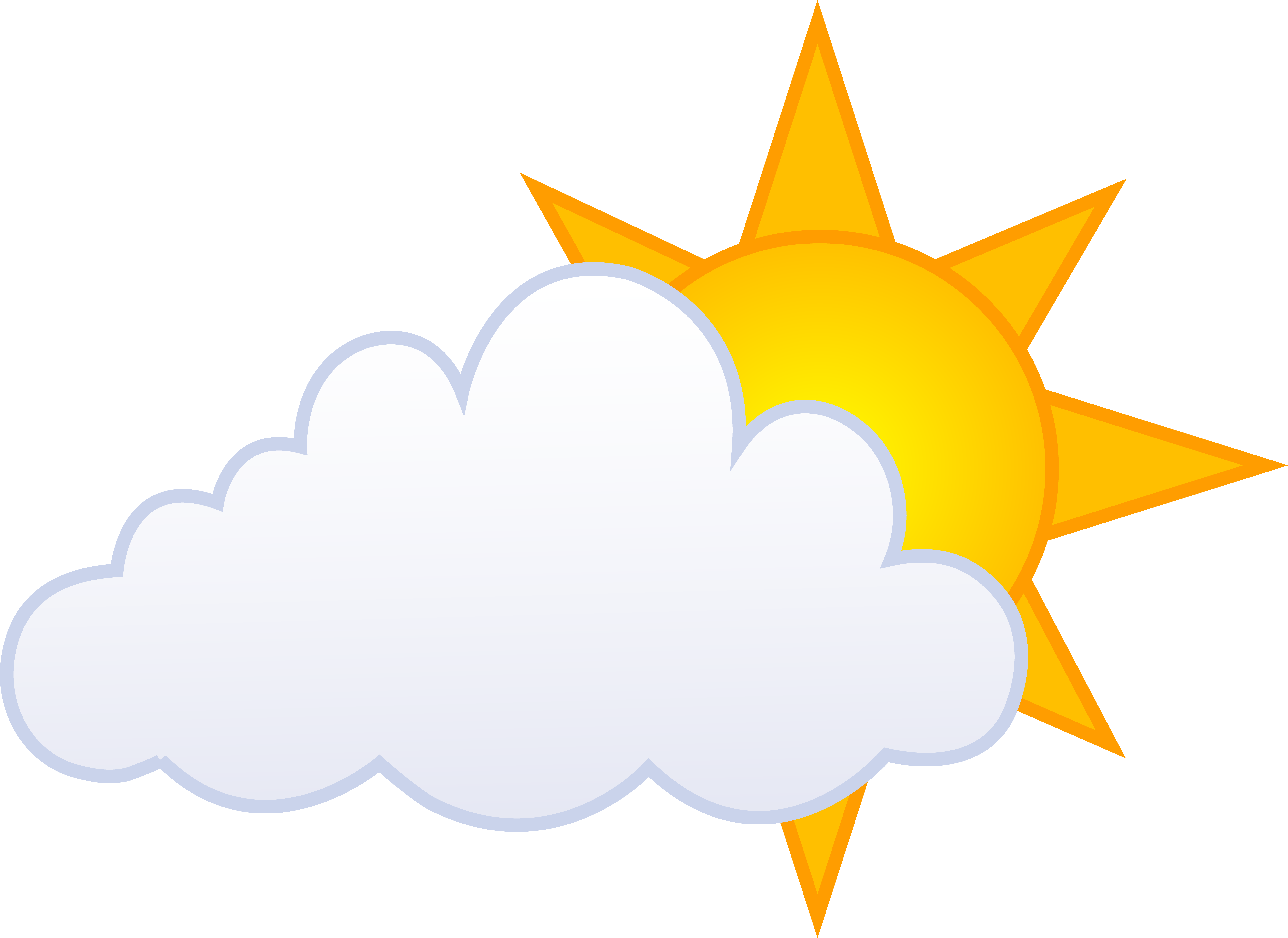 Golden Sun Behind Cloud - Free Clip Art