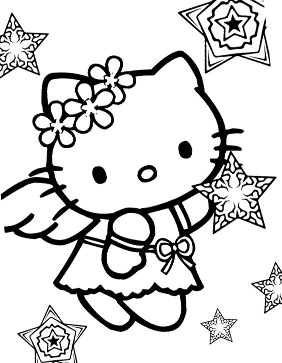angel hello kitty coloring pages - photo#3