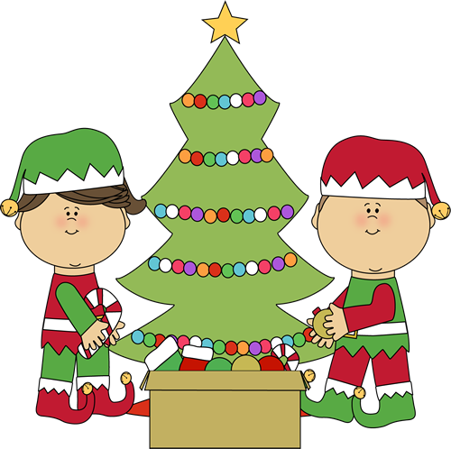 Elves Decorating a Christmas Tree Clip Art - Elves Decorating a ...