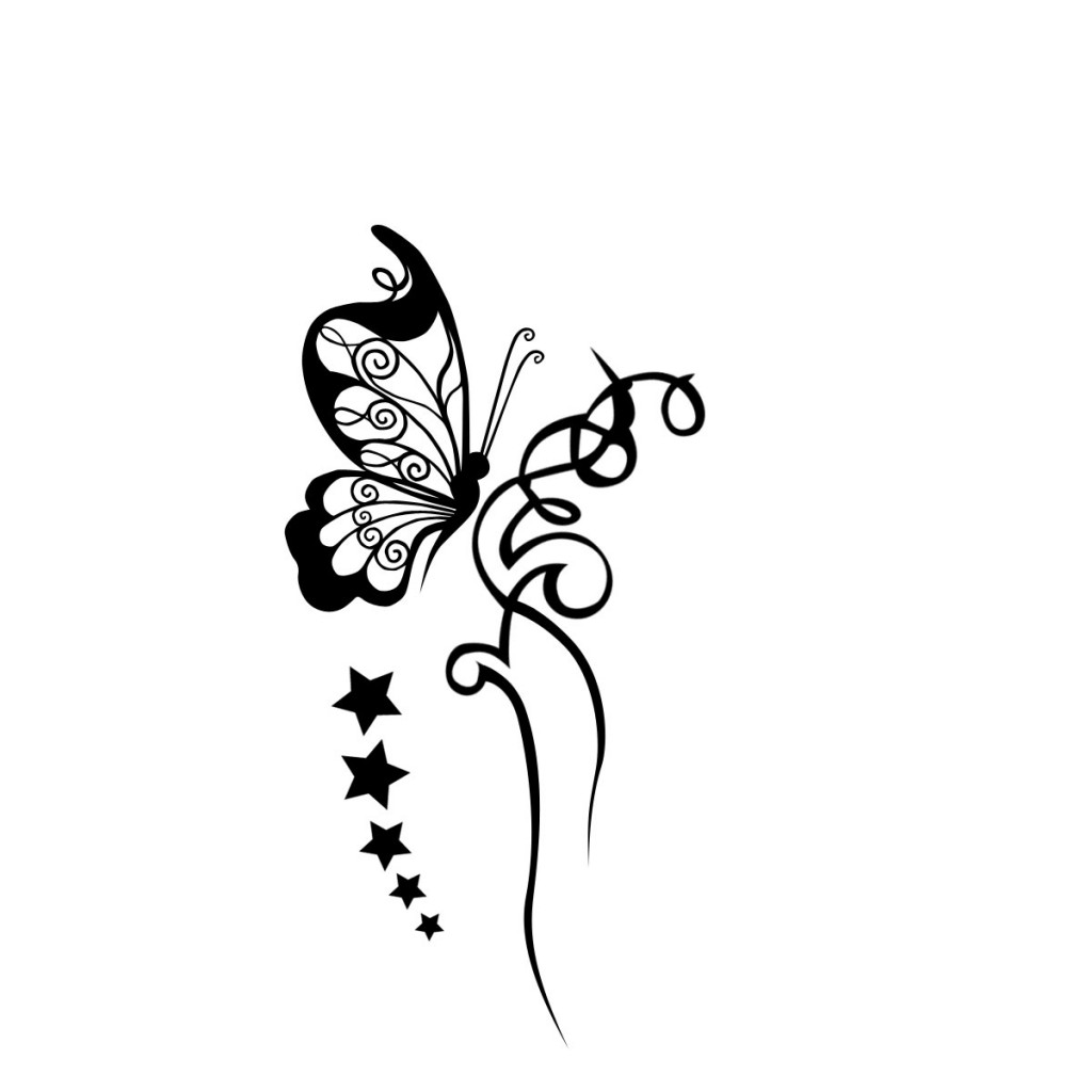 Black And White Butterfly Tattoos Designs |