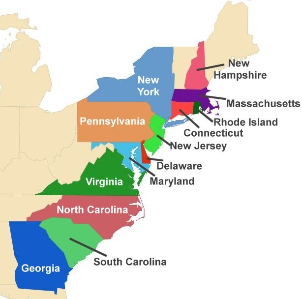 The 13 Colonies - Cliparts.co