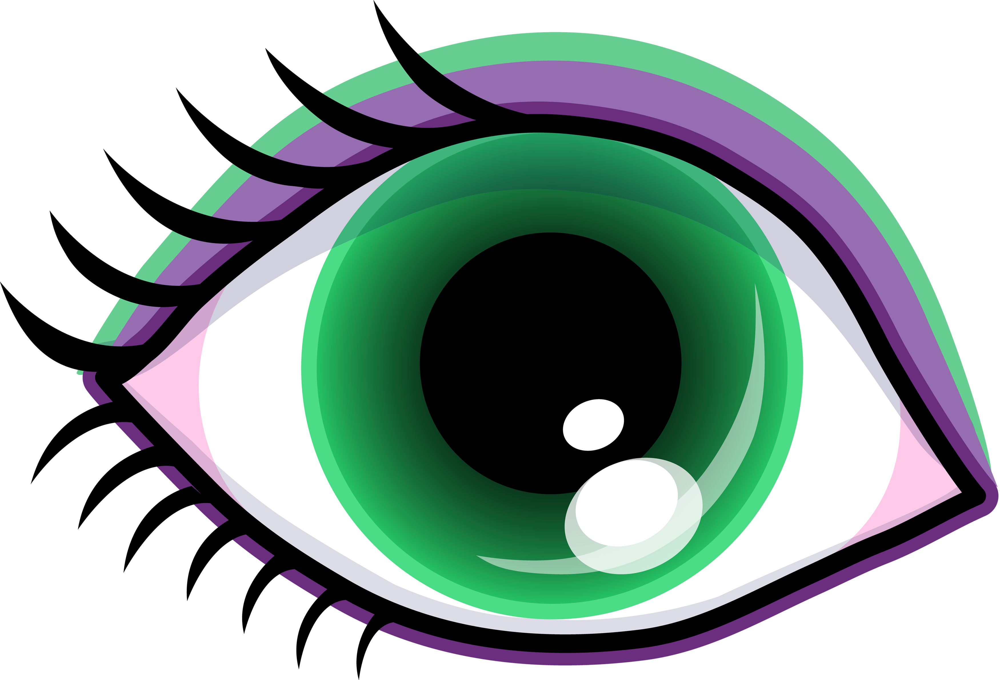 Pretty Green Eye With Shadow - Free Clip Art