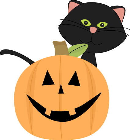 Black Cat Behind Jack-O-Lantern Clip Art - Black Cat Behind Jack-O ...