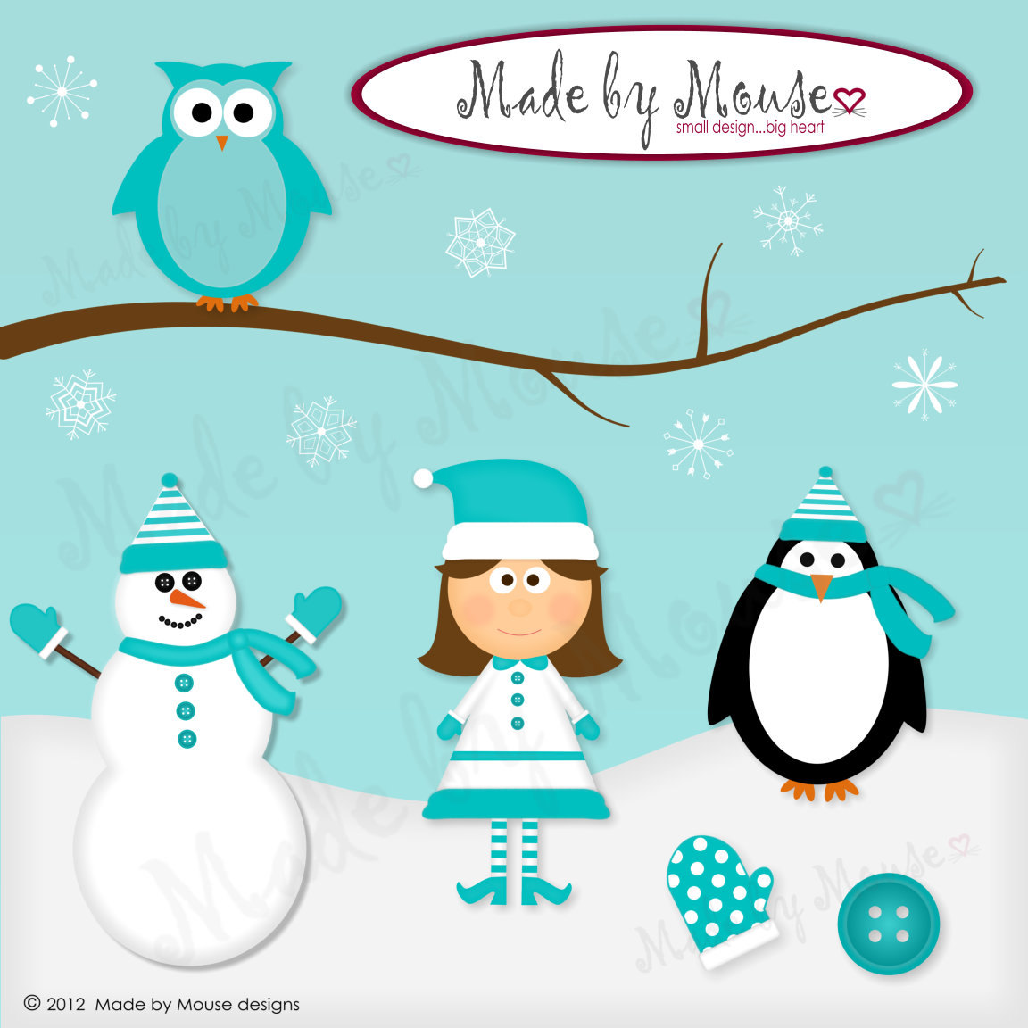 Winter Clipart INSTANT DOWNLOAD by madebymousedesigns on Etsy