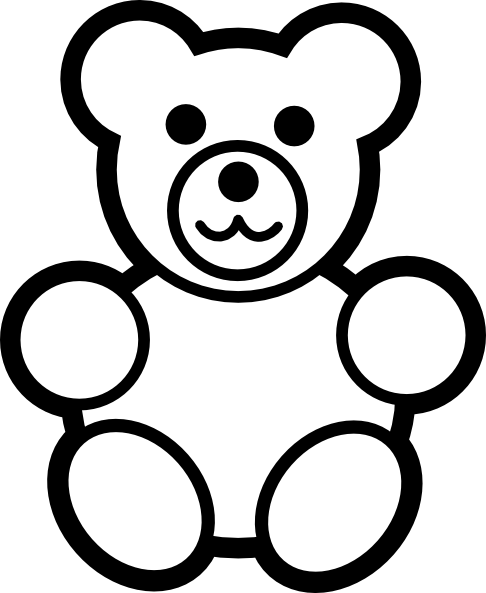 Circle Teddy Bear Black And White clip art - vector clip art ...