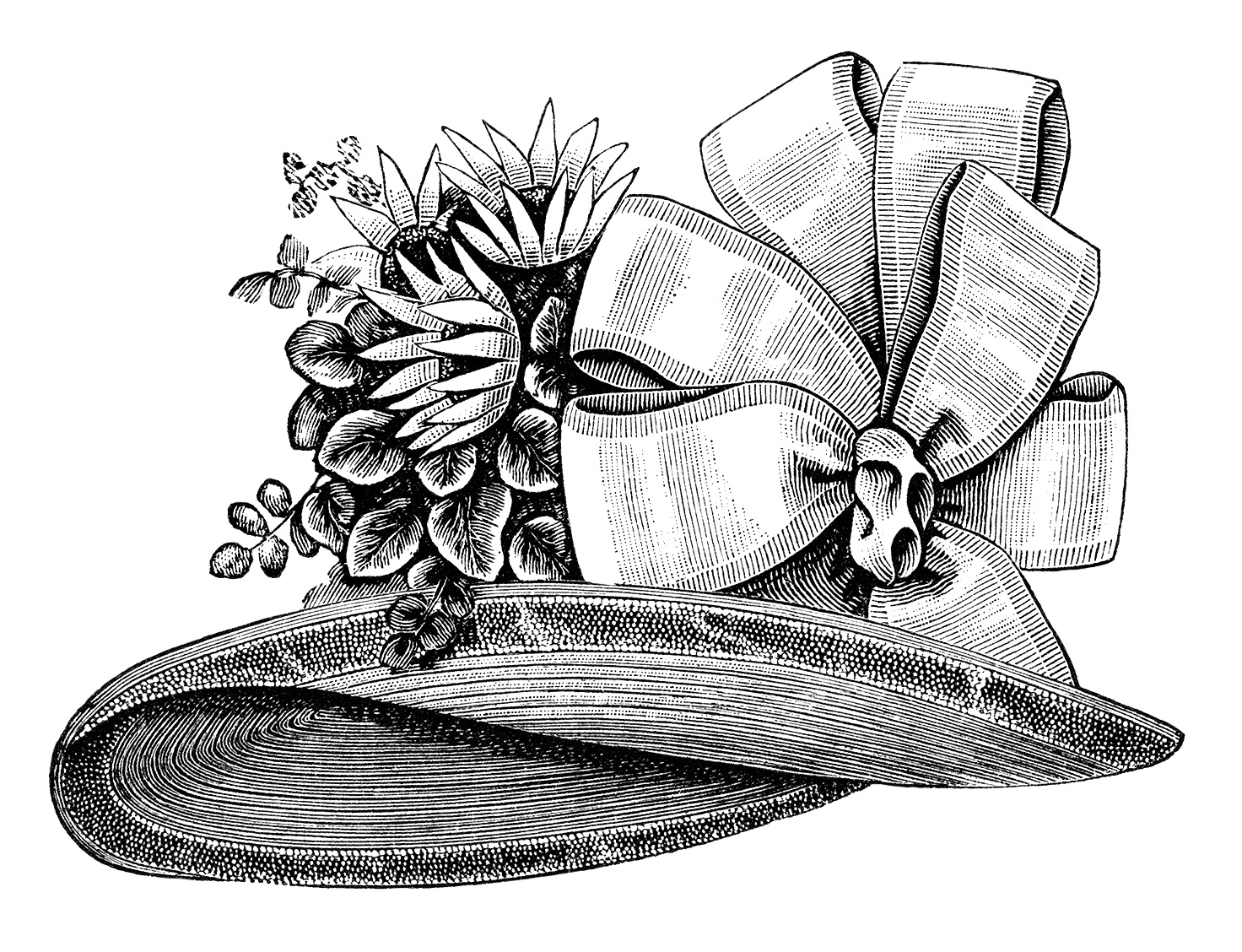 Ladies' Victorian Hat ~ Free Vintage Clip Art | Old Design Shop Blog