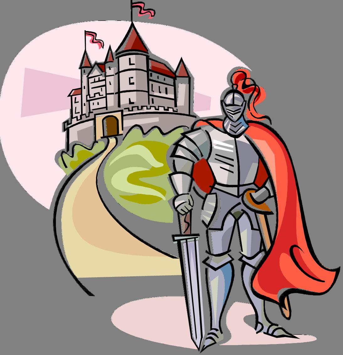 Рисунки с рыцарем и его замок