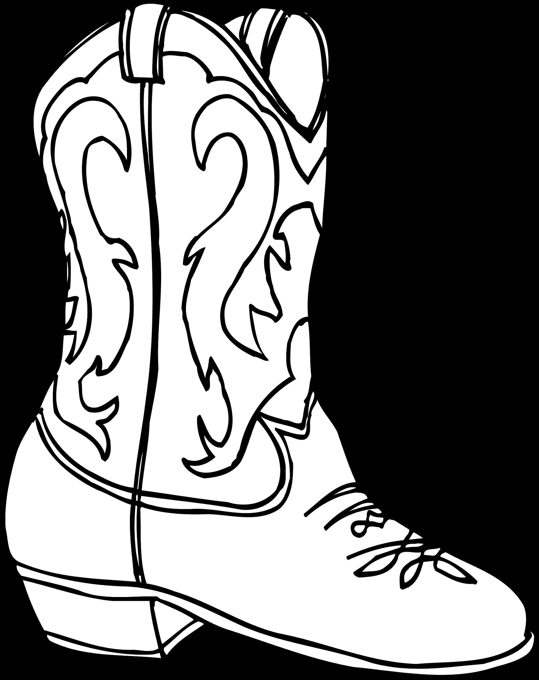 Printable coloring pictures of cowboy boots - Great Cowboy Boots Sketch Photo With Cowboy Boot Coloring Page