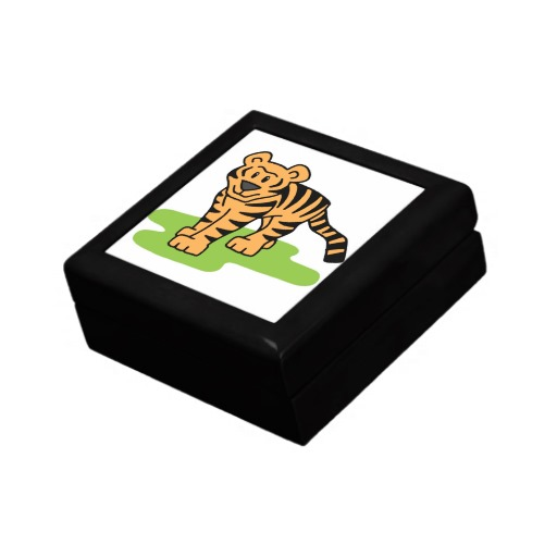 Cartoon Clip Art Bengal Tiger Big Cat with Stripes Jewelry Boxes ...