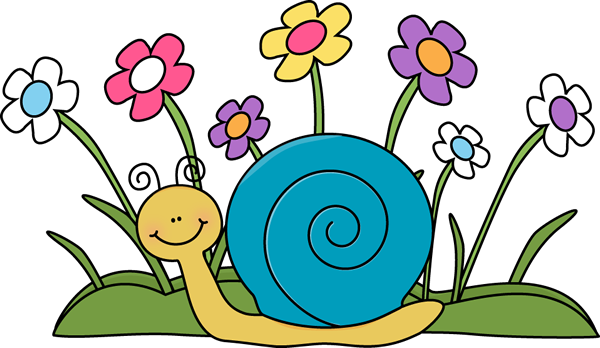 Snail and Flowers Clip Art - Snail and Flowers Image