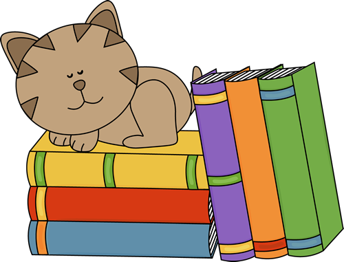 Cat Sleeping on a Stack of Books Clip Art - Cat Sleeping on a ...