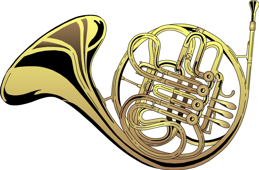 French Horn large 900pixel clipart, French Horn design