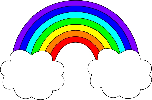 Rainbow With Clouds clip art - vector clip art online, royalty ...